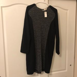 LOFT Straight Lined Black & Grey Dress